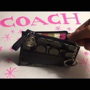 Coach black key chain small wallet leather trim